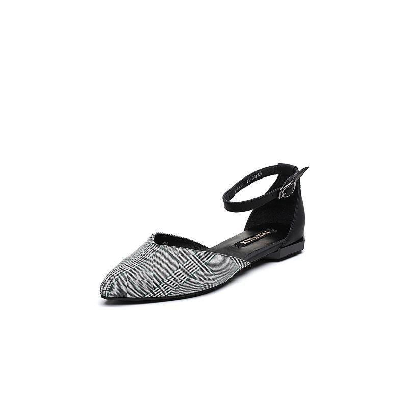 Teenmix/天美意2018春专柜同款布/牛皮时髦尖头通勤风中空女凉鞋CB532AK8