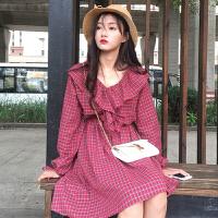 春装新款韩版复古荷叶边格子连衣裙女中长款显瘦学生长袖打底裙子