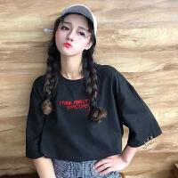 刺绣字母短袖T恤女夏装新款韩版原宿风宽松百搭显瘦圆环半袖上衣