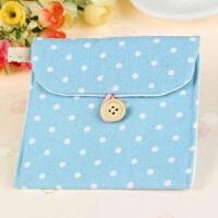 18韩国波点棉麻卫生巾的收纳包 卫生棉包姨妈巾包零钱包 装卫生巾包 蓝色