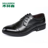 木林森男鞋牛皮商务休闲皮鞋英伦男士单鞋系带休闲鞋