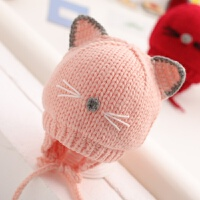 婴儿帽子秋冬季手工编毛线帽3-6个月12宝宝0护耳1一2岁可爱保暖潮 粉色 尖耳猫咪款 均码