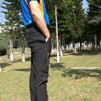 冲锋裤男冬季加绒防水户外速干裤男女夏季薄款透气登山裤运动长裤 黑色 薄款 L- 男士