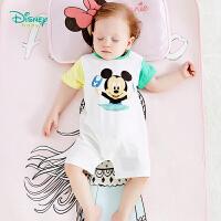 【99元3件】迪士尼Disney童装 男童米奇印花连体衣夏季新品纯棉短袖爬服婴儿衣服