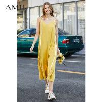 【到手价:177元】Amii极简度假海边吊带连衣裙2019夏新V领飘带宽松大A摆裙智熏长裙