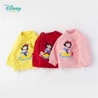迪士尼Disney童装 女童拼接抓绒长袖卫衣白雪公主印花上衣秋季新款女宝衣服193S1236