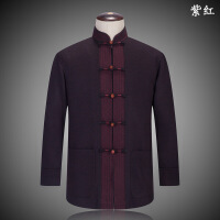 中国风秋冬季男士唐装 中式长袖毛呢汉服民族男装中老年上衣外套