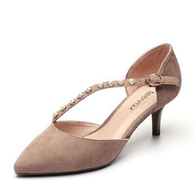 Teenmix/天美意夏专柜同款羊绒皮珠饰扣带细高跟中空女凉鞋AP681BK7