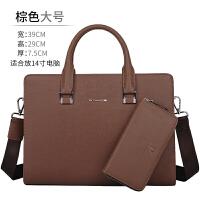 是男士商务包户外男士手提包包横款公文包男式皮包电脑包潮