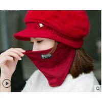 新品韩版加绒加厚保暖针织贝雷帽潮百搭兔毛线帽子女鸭舌帽