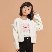 【1件3折价:80.7,可叠券】米喜迪mecity童装20春女童毛衣网纱毛衣儿童针织开衫外套