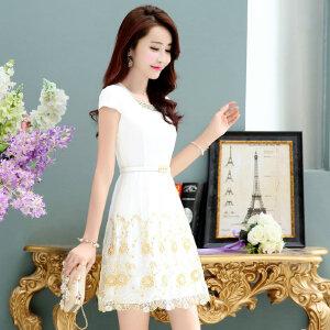 夏天雪纺连衣裙女2018新款韩版中长款反季小个子女人夏季短袖裙子