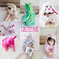 韩国童装冬季新款男女童法兰绒可爱动物头卡通家居服浴袍A6-A36