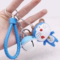 韩国卡通可爱汽车钥匙扣小猪叮当猫铃铛挂件圈男女钥匙链圣诞礼物 +蓝白叮当