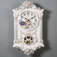 FGHGF 石英钟表时钟复古挂钟客厅欧式个性创意时尚大气豪华装饰壁钟静音 白色 带粉色 20英寸