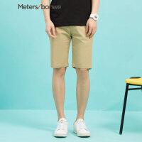 【狂欢返场,专区1件3折】美特斯邦威休闲裤男士夏装新款口袋印花装饰潮流时尚五分裤