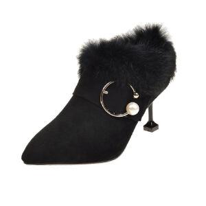 WARORWAR新品YM90-9999冬季韩版磨砂反绒细跟高跟尖头女士靴子裸靴