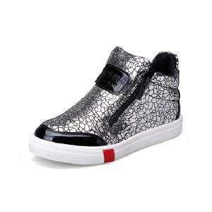 比比我女童休闲鞋2017春秋新款儿童鞋女高帮蛇皮纹休闲鞋潮 防滑橡胶鞋底