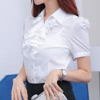 2018年新款春季韩版翻领荷叶花边白色衬衫女长袖 职业装修身打底衫短袖衬衣