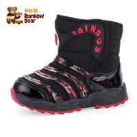 彩虹熊宝宝雪地靴1-3岁冬季小童男童加绒棉靴防滑儿童短靴女童靴