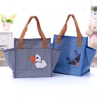 带饭手提包韩版防水帆布饭盒袋学生午餐便当包大容量便当袋带饭包