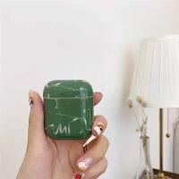 抹茶绿airpods1/2保护套苹果无线蓝牙耳机硬壳创意光面case流行 抹茶绿简约大理石纹耳机套