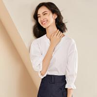 2019春夏新款衬衫七分袖v领衬衣纯棉宽松喇叭袖上衣