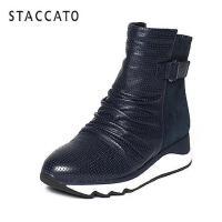 STACCATO/思加图冬季专柜同款牛皮女靴(冲孔)9JX01DD6