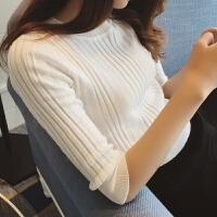 春装新款中袖半高圆领针织衫女套头纯色五分袖打底衫修紧身毛衣薄