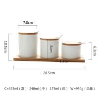 陶瓷竹木带盖调味罐调料瓶调味盒厨房用品三件套装