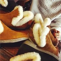欧洲站冬季新款真皮羊毛短靴女英伦风雪地靴女鞋加绒保暖学生女靴