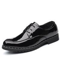 皮鞋男秋冬季韩版英伦青年皮鞋正装商务休闲鞋男学生潮流百搭 黑色