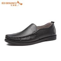 红蜻蜓男鞋春季新款正品舒适软底真皮套脚驾车鞋休闲鞋