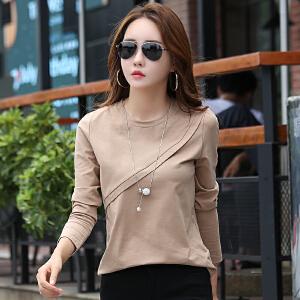 秋装女新款韩版百搭显瘦打底体恤衫拼接纯色女士长袖T恤上衣