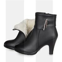 2018冬季羊毛女靴粗跟真皮短靴冬靴加绒保暖高跟皮鞋棉靴妈妈棉鞋SN7844