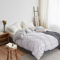 水洗针织棉双拼四件套全棉纯棉美式简约床单被套超柔裸睡床上用品