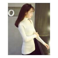 毛衣女秋冬套头新款网红厚短款修身百搭长袖高领针织黑白色打底衫