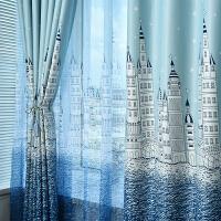 窗帘成品 地中海卡通儿童房城堡窗帘布 卧室客厅全遮光布