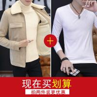 夹克男冬季修身韩版羊羔毛绒外套加绒加厚皮毛一体中长款皮大衣潮