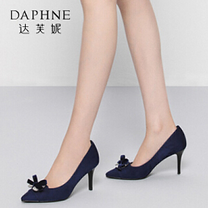Daphne/达芙妮圆漾系列 秋新款优雅蝴蝶结钻饰细高跟女单鞋
