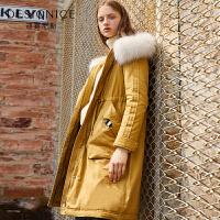 羽绒服女中长款迪赛尼斯韩版修身显瘦过膝大毛领外套