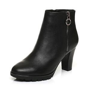 Belle/百丽冬季专柜同款黑油皮牛皮革女皮靴(绒里)BHX40DD6
