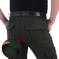 春季厚款工装裤男长裤多口袋直筒休闲裤男士宽松大码军装裤多兜裤 深军绿 战术式 1501
