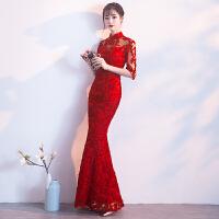 敬酒服旗袍2018新款中式鱼尾长袖大红色新娘结婚回门晚礼服女冬季