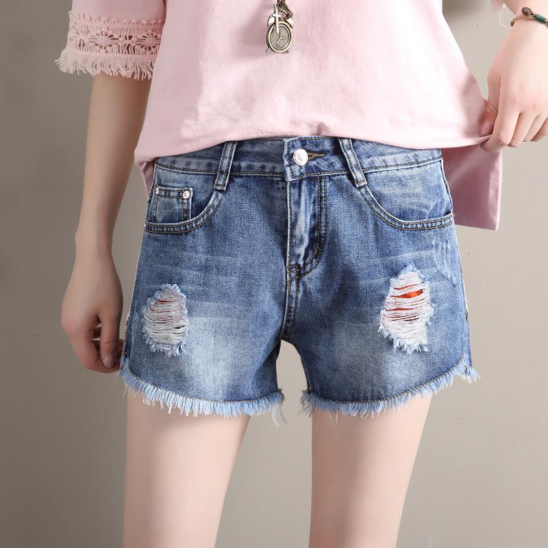 Freefeel2018夏季牛仔短裤女装新款磨破洞毛边修身个性彩带显瘦透气热裤