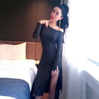 连衣裙秋装新款夜店长袖时尚闪闪性感露肩侧高开叉中长礼服裙