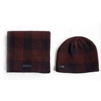 冬保暖格子帽子两件套   冬天保暖男士围巾套件 男女士围巾