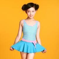 新款儿童泳衣连体裙式学生泳装中大小童女童游泳衣