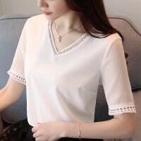 20180823211505291短袖女2018新款韩版女装潮小衫雪纺上衣夏季白色衣服女百搭T恤女