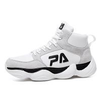 男士运动鞋高帮男韩版潮流百搭高邦篮球鞋嘻哈鞋子跑步鞋男潮街头 白色 P905白米
